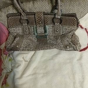 Pretty Guess Satchel bag in canvas with PVC trim
